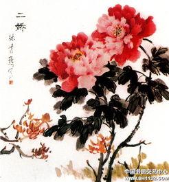 现代名人画牡丹-牡丹组画之十 二娇 张鸣鹤 中国书画服务中心