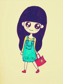 动漫人物简笔画 一个活泼可爱的小女孩