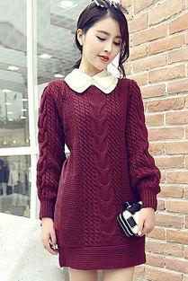 ... 韩系个性秋冬新款粗棒针毛衣套头针织衫连衣裙毛线裙-女士牛仔衣服