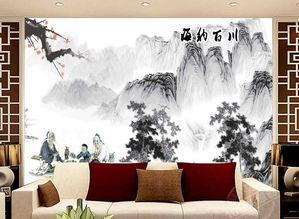 电视客厅沙发背景墙瓷砖背景墙海纳百川