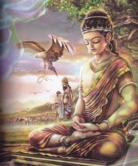 得入四禅:太子见老鹰捕食蛇,心生悲悯,观察到众生的苦恼,而入...