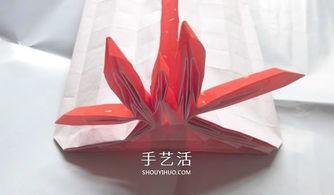 ...用一张纸 折纸蝴蝶结礼品盒的图解步骤