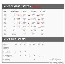 衣服裤子尺寸对照表参考