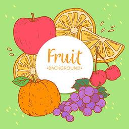 卡通水果圆形标签图案