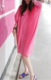 ...松时尚休闲蝙蝠袖艳丽纯色连衣裙