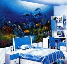 有房色一级片吗-简约风格小孩房蓝色墙纸图片
