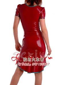 乳胶衣紧身衣裙子 女连衣裙乳胶衣cd变装 红裙女王裙