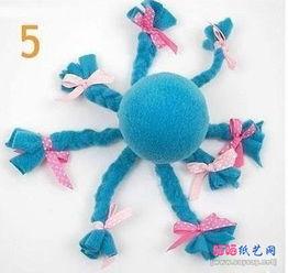 布艺手工制作带头巾的章鱼小姐布偶DIY图文教程