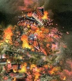 作品里的安土城炎上   图35 影视剧作品里的大坂城炎上   图36 影视剧作...