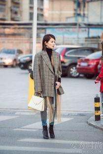 中长款格纹西装外套-看够了满街的长款大衣 不妨来一件范冰冰的中长...