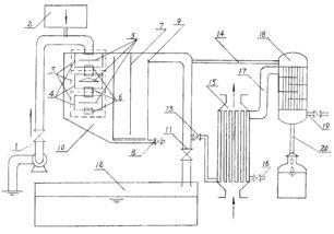 备(10)通过隔流板(7)、溢水堰(9)、蒸馏给 水管阀(13)、与...