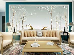 ...代手绘北欧简约壁纸淡雅沙发卧室背景墙壁画