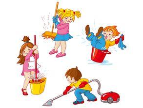 儿童劳动场景矢量素材