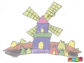 好看的荷兰风车简笔画