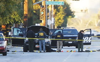 ...围地面上有很多黄色标记.(网页截图)-美枪击案致14人死亡 凶手...