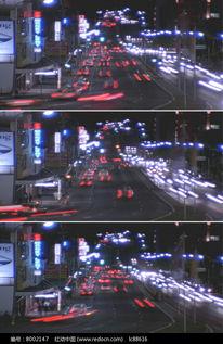 繁华城市夜色红灯区夜景汽车穿行视频mov素材下载 编号8002147 红动...