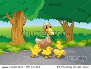 ...mother duck and her ducklings at the road