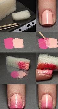DIY简单美甲教程步骤图片 甜美风清新粉色渐变指甲