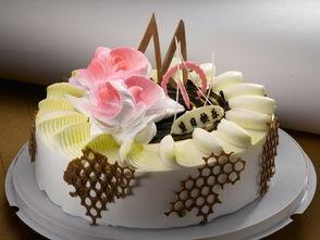 ...力奶油花朵装饰生日蛋糕素材图片下载