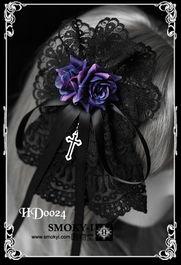 暗物堂 哥特蓝蔷薇十字架黑蕾丝发饰 发夹胸花两用 HD0022