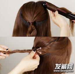 卷发穿过已绑成辫子的头发塞进去.