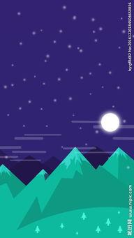 手绘卡通野外夜景H5背景图片