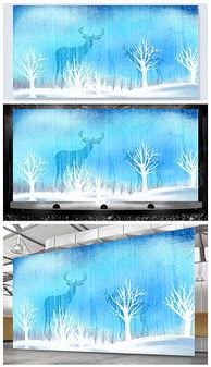 高端大气手绘森林麋鹿舞台背景psd格式设计模板-PSDpsd沙发 PSD格...