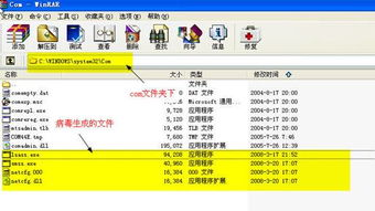 ndows32Com目录下   可以发现如下病毒文件