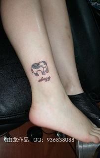 由龙作品女生脚踝小象纹身
