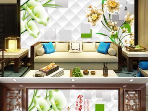 ...贵立体百合花朵瓷砖电视背景墙图片