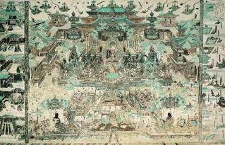 分为三段:上为须弥山或建筑的远景、中间为说法、下为莲池歌舞,而...
