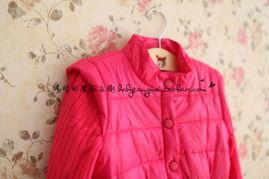 河南大红缎子棉袄-...韩版女童中长款棉衣 儿童外套 冬款棉大衣 玫红 针织袖