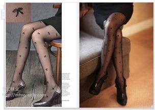 ...主流甜美蝴蝶结丝袜 真人透明提花超薄连裤袜 无包装