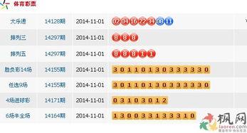 2014年11月1日中国体育彩票开奖公告 图文