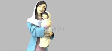 母亲拥抱小孩的模型