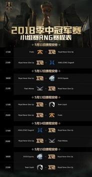 lol季中赛2018RNG赛程表 MSI小组赛RNG完整赛程表