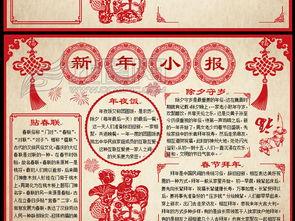 2017年鸡年春节新年电子小报手抄报模板