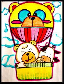 ...简笔画_热气球图片欣赏_热气球儿童画画作品-有-简笔画足球图片欣赏