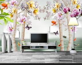 玉兰花树3D立体电视背景墙壁画