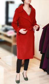 12BCW10029 法式优雅 翻领 浴袍款大衣 V 60,G 30