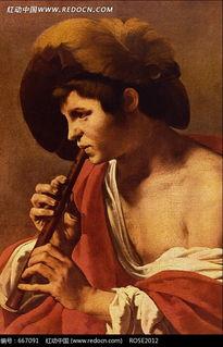 吹笛子的男人油画作品图片免费下载 红动网