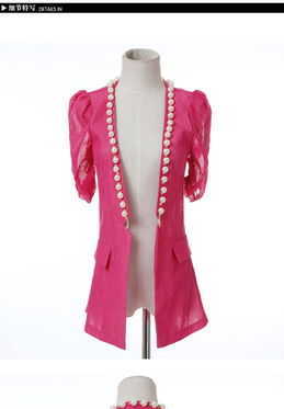 ...伦敦风女装时装女士纱料半袖小西装薄款小西服显瘦长外套外搭