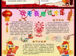 2017年鸡年春节新年电子小报手抄报模板图片下载doc素材 元旦手抄报