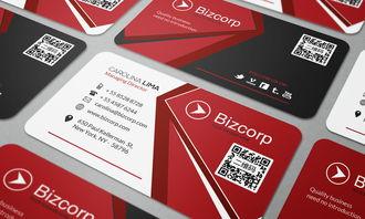 红色时尚科技二维码名片设计模板