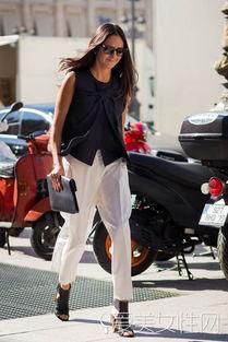 ...筒9分裤+粗跟高跟鞋+手拿包 时尚点评:职场白领的干练中性范儿,...