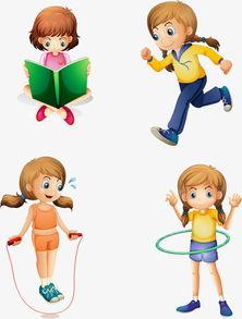 矢量手绘卡通小朋友矢量手绘转呼啦圈跳绳看书跑步女孩-矢量手绘卡...