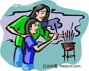 烧香的女子卡通手绘AI素材免费下载 编号2286422 红动网