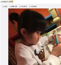 陆毅两女儿并排坐画画 贝儿斜眼偷瞄妹妹表情逗趣-明星八卦