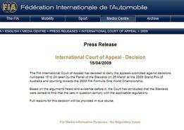 国际汽联官方网站截屏-FIA宣布争议扩散器合法 F1迎来全新时代