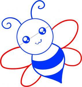 如何画蜜蜂 蜜蜂简笔画步骤图